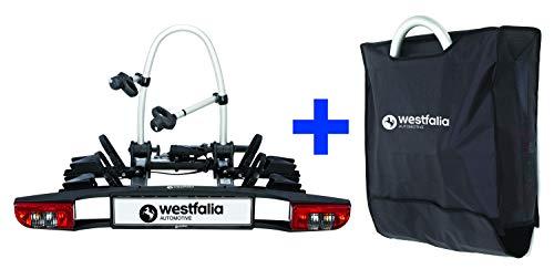 Westfalia BC 60 (Modell 2018) Fahrradträger für die Anhängerkupplung inkl. Tasche - Klappbarer Kupplungsträger für 2 Fahrräder - E-Bike geeigneter Universal-Radträger mit 60kg Zuladung